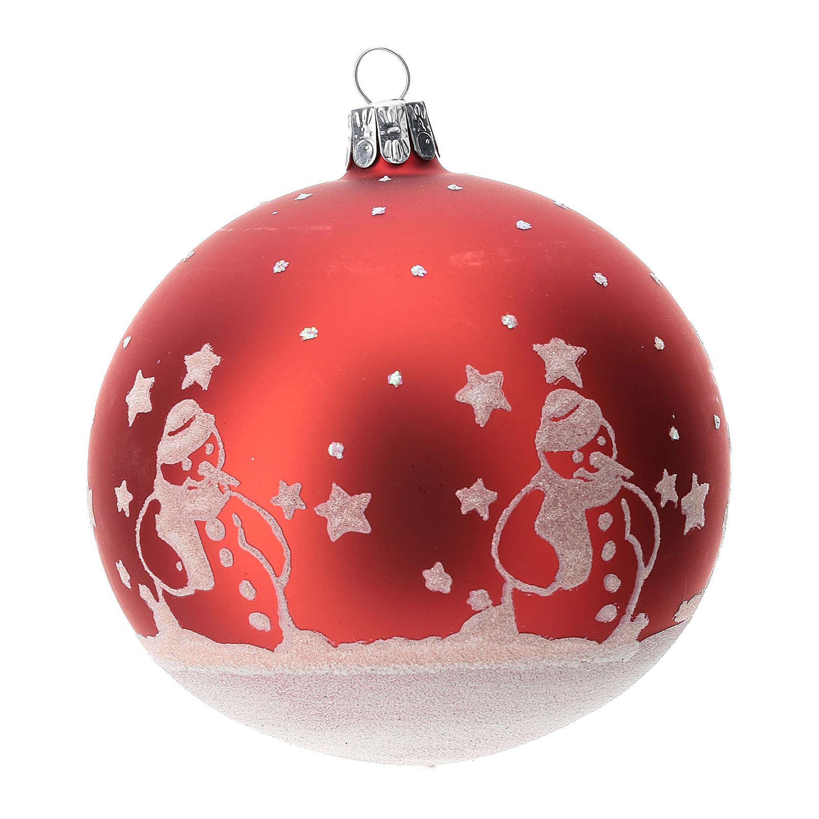 Palla albero Natale vetro soffiato rossa con pupazzi di natale 100 mm  4