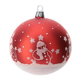 Palla albero Natale vetro soffiato rossa con pupazzi di natale 100 mm  s1