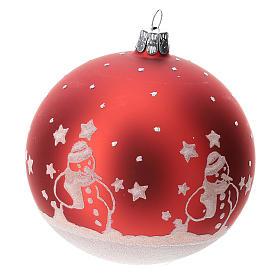 Palla albero Natale vetro soffiato rossa con pupazzi di natale 100 mm  s2