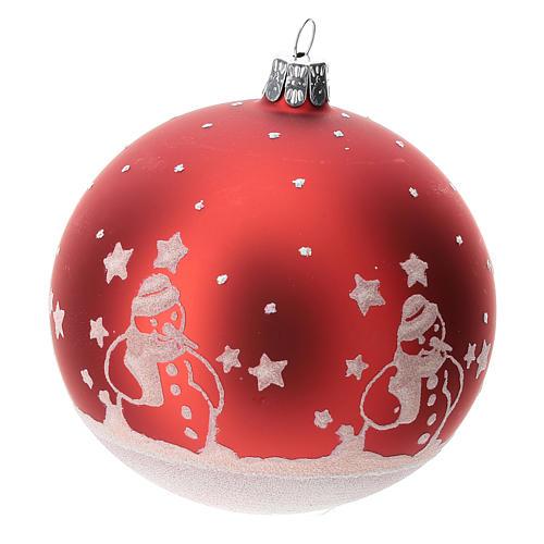 Palla albero Natale vetro soffiato rossa con pupazzi di natale 100 mm  2