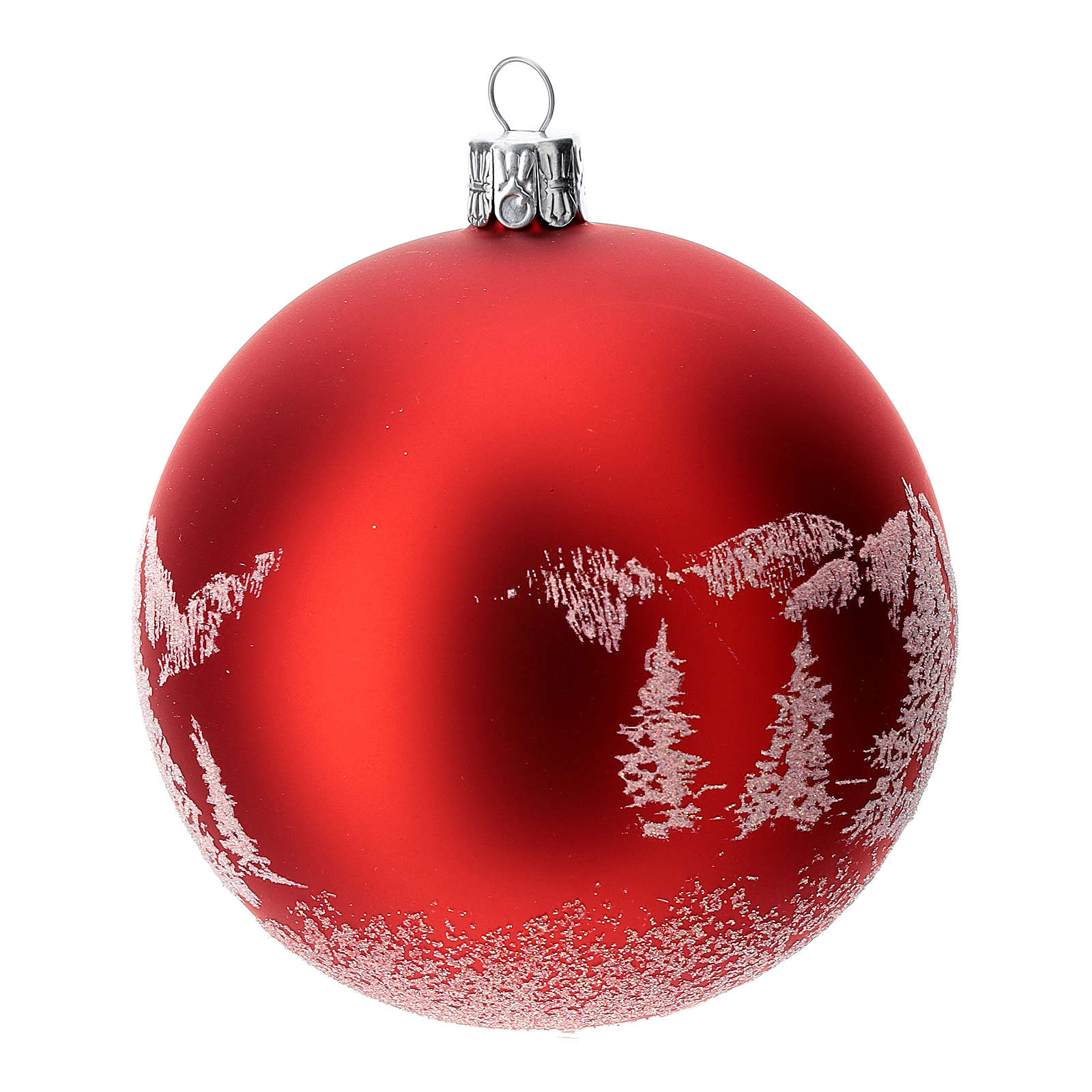 Red Christmas tree ball in blown glass: snowy landscape, 100 mm 4