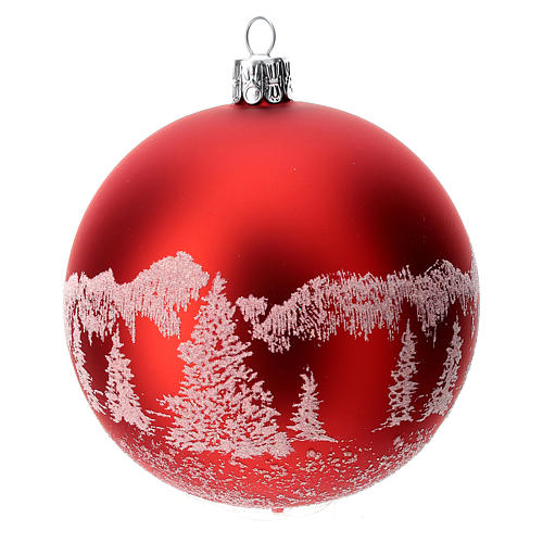 Red Christmas tree ball in blown glass: snowy landscape, 100 mm 1