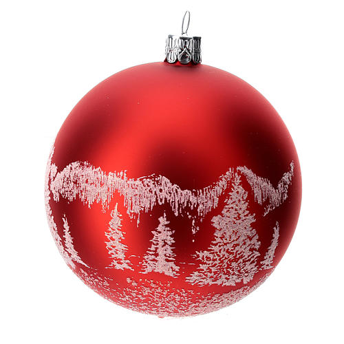 Red Christmas tree ball in blown glass: snowy landscape, 100 mm 2