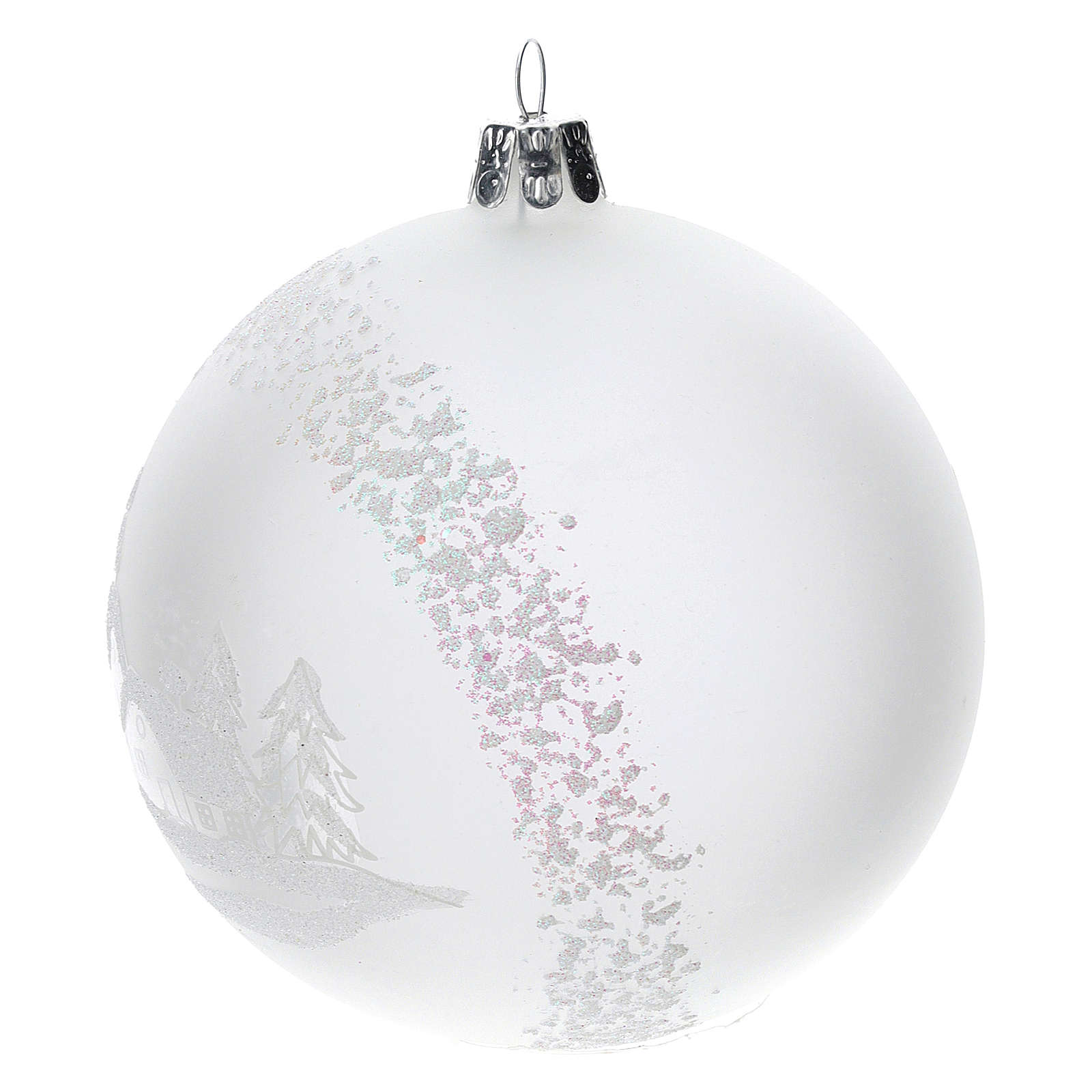 Christmas tree ball in blown glass: snowy landscape, 100 mm 4