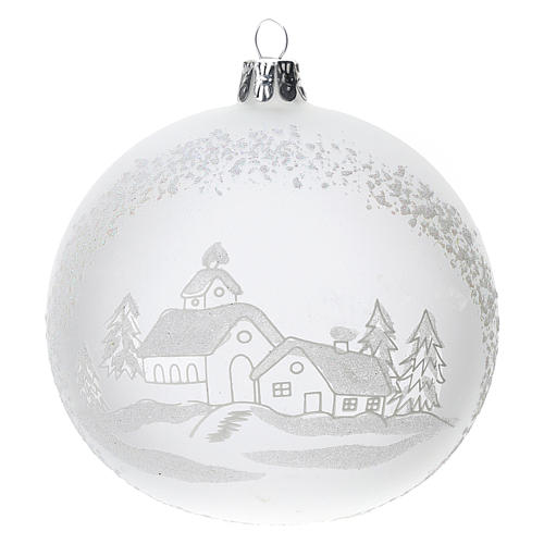 Christmas tree ball in blown glass: snowy landscape, 100 mm 1