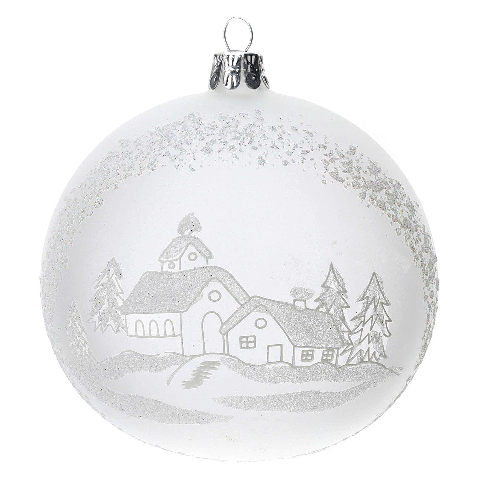 Palla albero Natale vetro soffiato opaca paesaggio innevato 100 mm 4