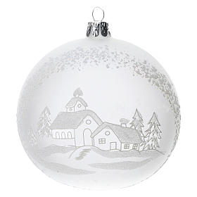 Palla albero Natale vetro soffiato opaca paesaggio innevato 100 mm s1