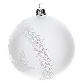 Palla albero Natale vetro soffiato opaca paesaggio innevato 100 mm s2