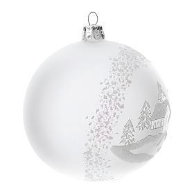 Palla albero Natale vetro soffiato opaca paesaggio innevato 100 mm s3
