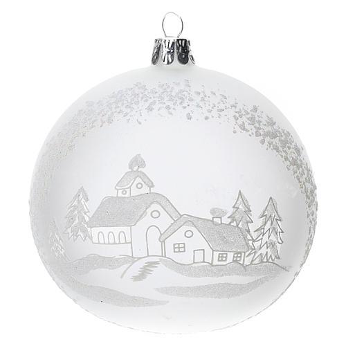 Palla albero Natale vetro soffiato opaca paesaggio innevato 100 mm 1