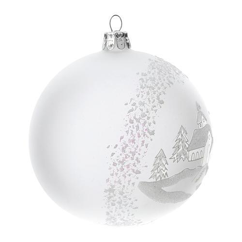 Palla albero Natale vetro soffiato opaca paesaggio innevato 100 mm 3