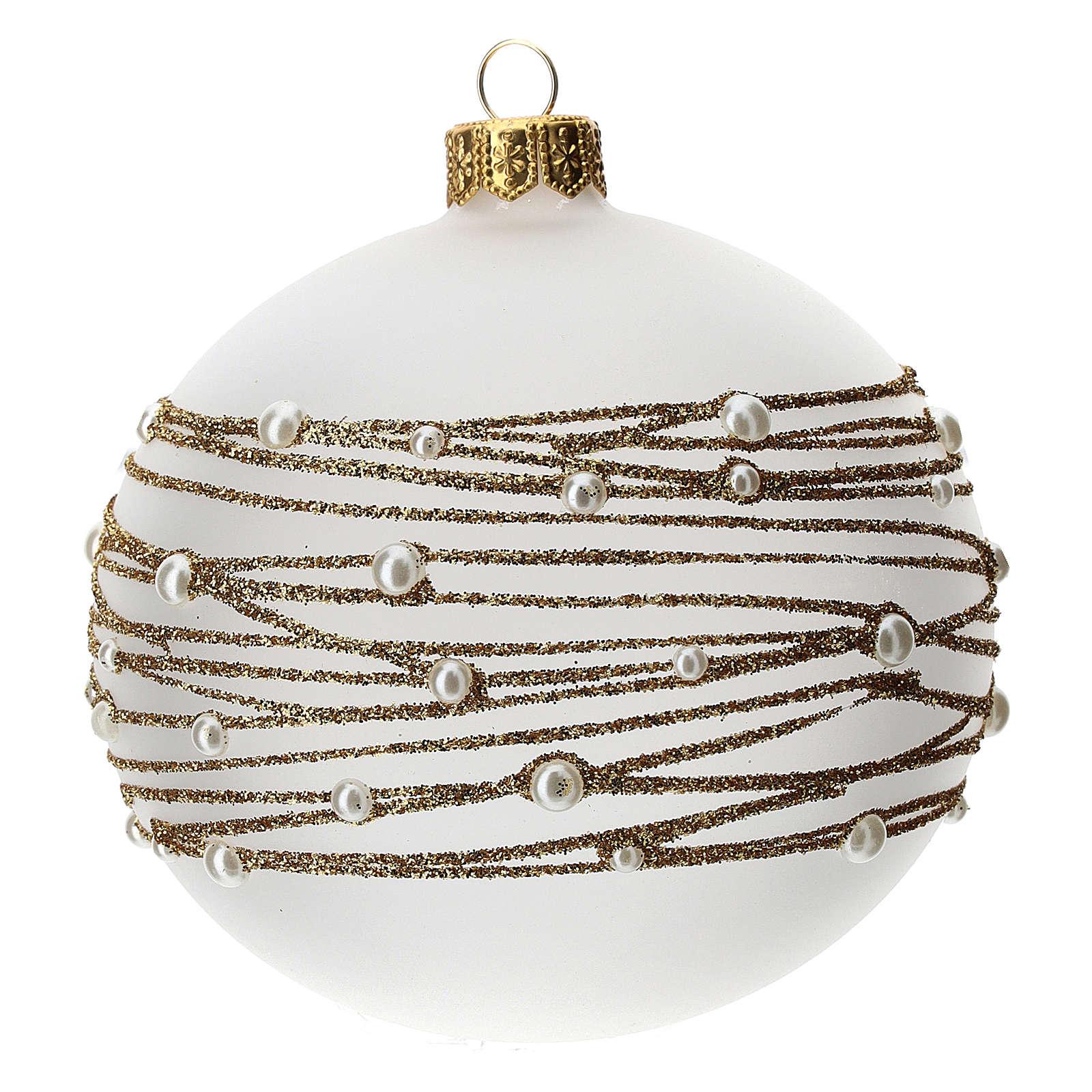 Bola árbol Navidad vidrio soplado opaca motivo bordado dorado 100 mm 4