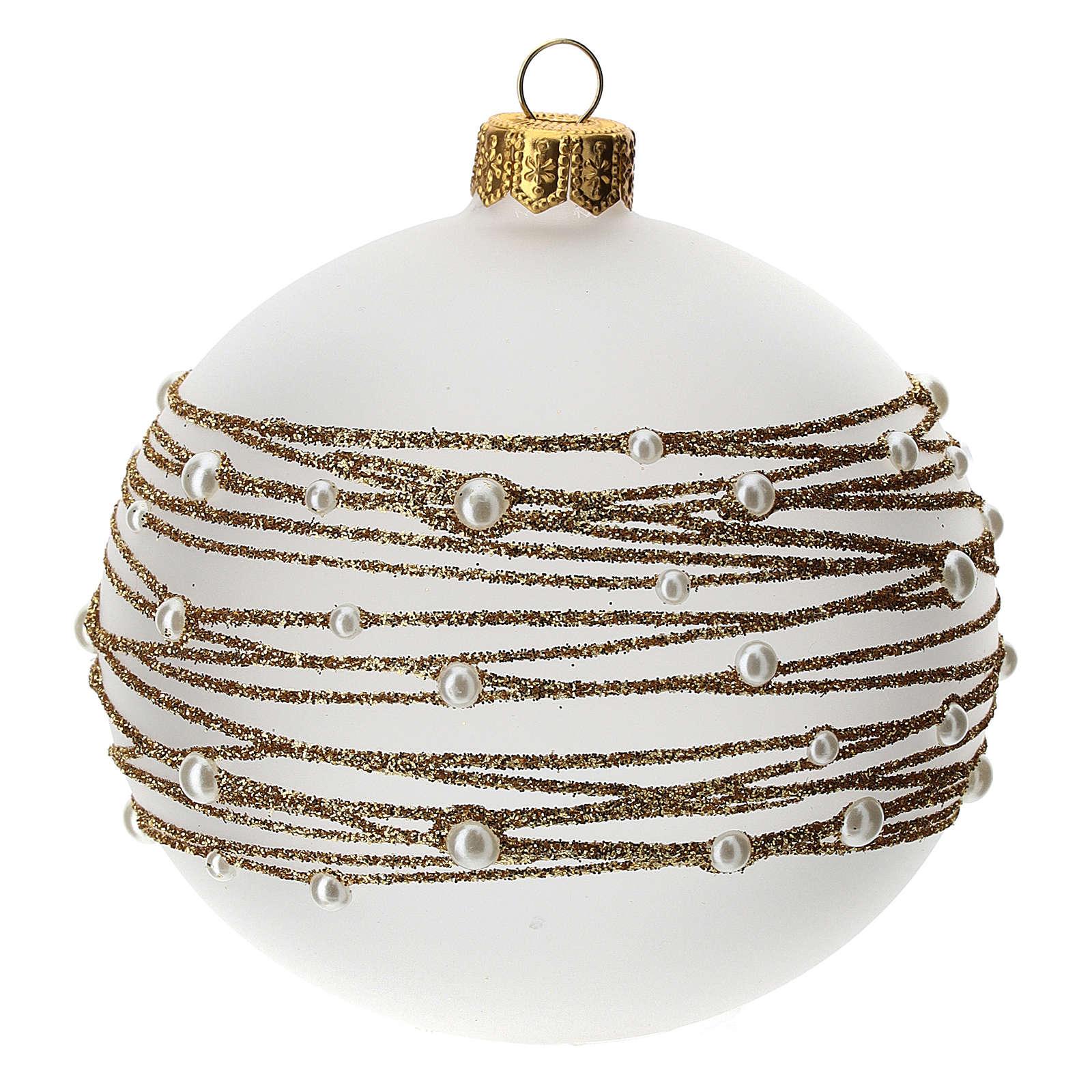 Palla albero Natale vetro soffiato opaca decoro ricamo dorato 100 mm 4