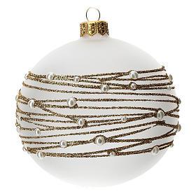 Palla albero Natale vetro soffiato opaca decoro ricamo dorato 100 mm s1