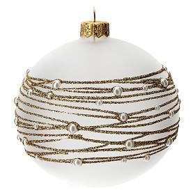 Palla albero Natale vetro soffiato opaca decoro ricamo dorato 100 mm s2