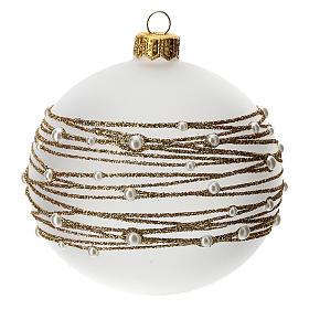 Palla albero Natale vetro soffiato opaca decoro ricamo dorato 100 mm s3