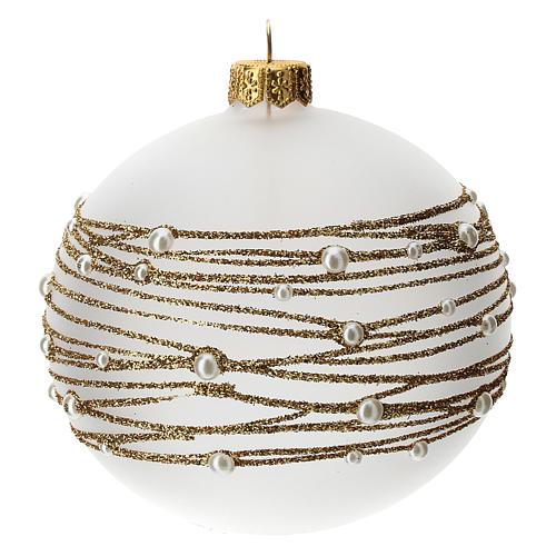 Palla albero Natale vetro soffiato opaca decoro ricamo dorato 100 mm 2