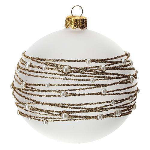 Palla albero Natale vetro soffiato opaca decoro ricamo dorato 100 mm 3