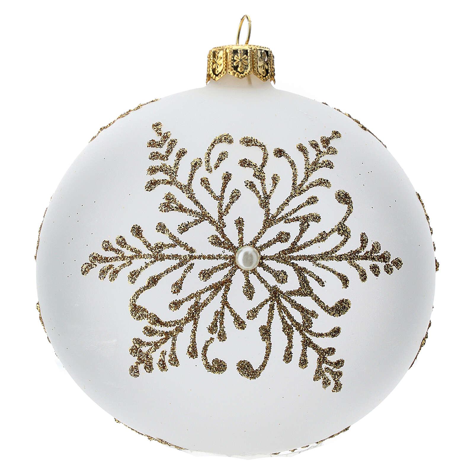 Bola árbol Navidad vidrio soplado opaca motivo dorado árbol 100 mm 4