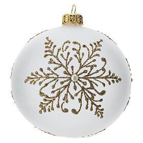 Bola árbol Navidad vidrio soplado opaca motivo dorado árbol 100 mm s1