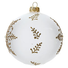 Bola árbol Navidad vidrio soplado opaca motivo dorado árbol 100 mm s2
