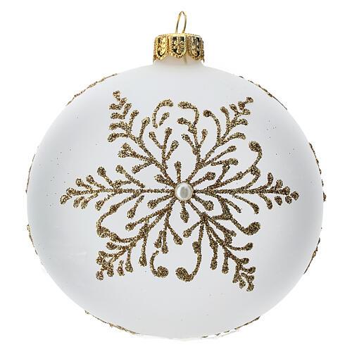 Bola árbol Navidad vidrio soplado opaca motivo dorado árbol 100 mm 1