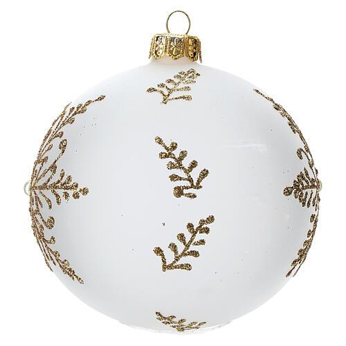 Bola árbol Navidad vidrio soplado opaca motivo dorado árbol 100 mm 2