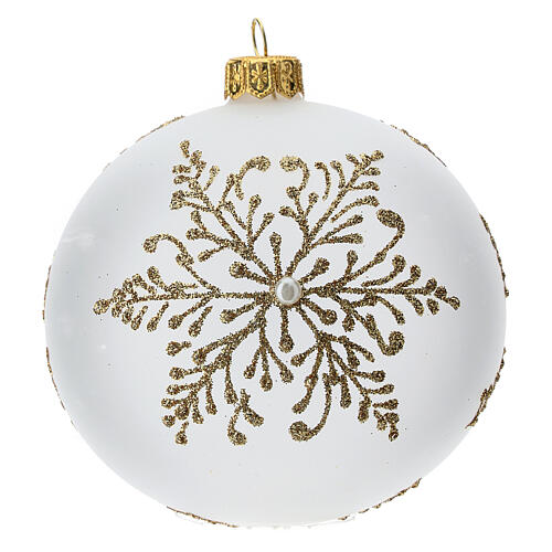 Bola árbol Navidad vidrio soplado opaca motivo dorado árbol 100 mm 3