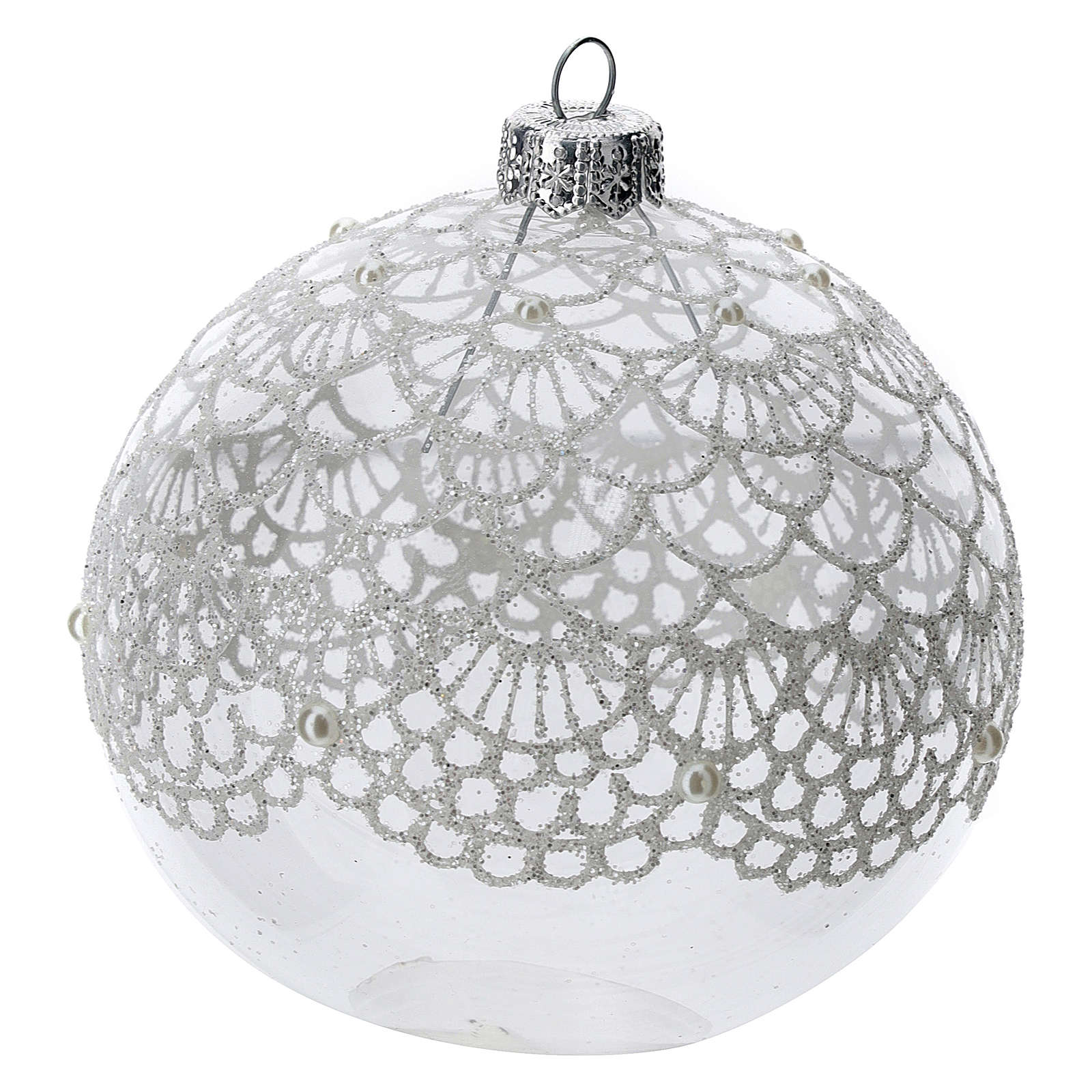 Blown glass Christmas ball, transparent with silver decoration 100 mm 4
