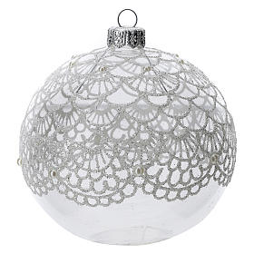 Blown glass Christmas ball, transparent with silver decoration 100 mm s1