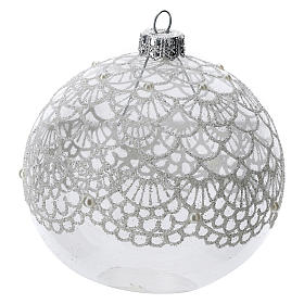 Blown glass Christmas ball, transparent with silver decoration 100 mm s2