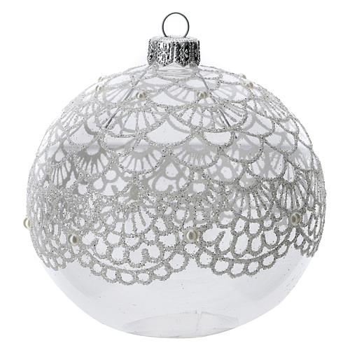 Blown glass Christmas ball, transparent with silver decoration 100 mm 1
