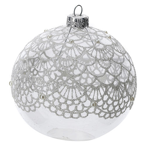 Blown glass Christmas ball, transparent with silver decoration 100 mm 2