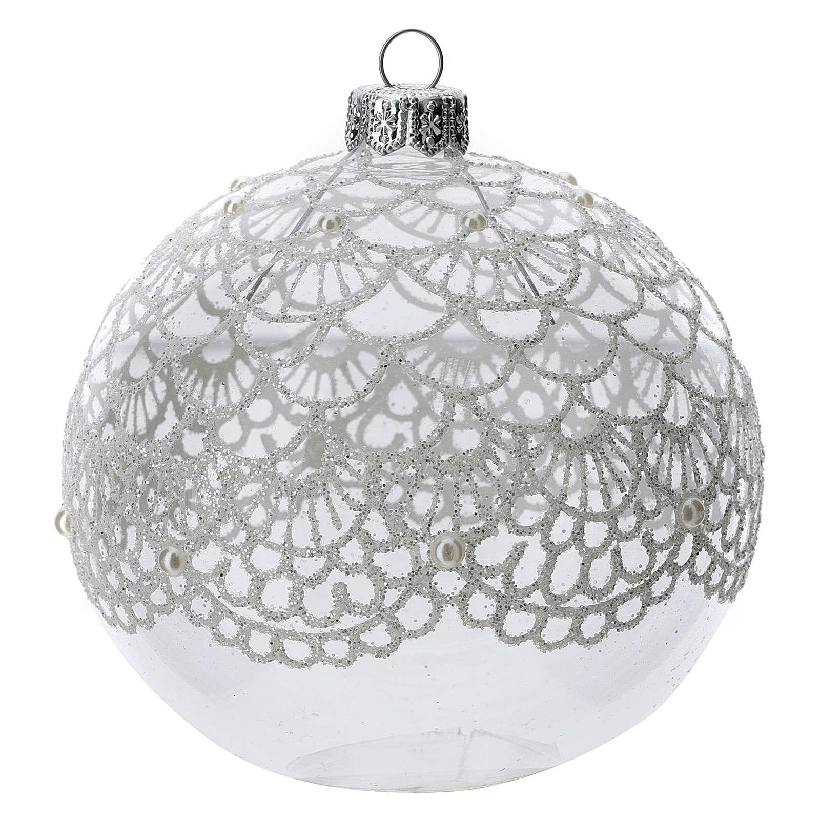 Bola árbol Navidad vidrio soplado transparente motivo bordado 100 mm 4