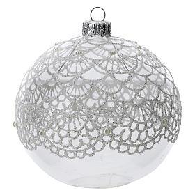 Bola árbol Navidad vidrio soplado transparente motivo bordado 100 mm s1