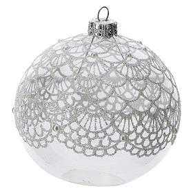 Bola árbol Navidad vidrio soplado transparente motivo bordado 100 mm s2