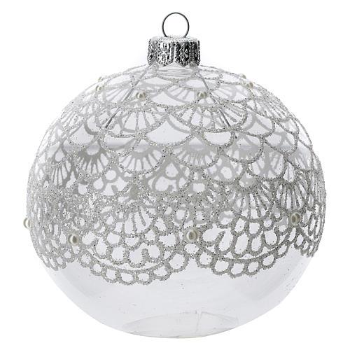 Bola árbol Navidad vidrio soplado transparente motivo bordado 100 mm 1