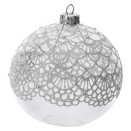 Bola árbol Navidad vidrio soplado transparente motivo bordado 100 mm 2