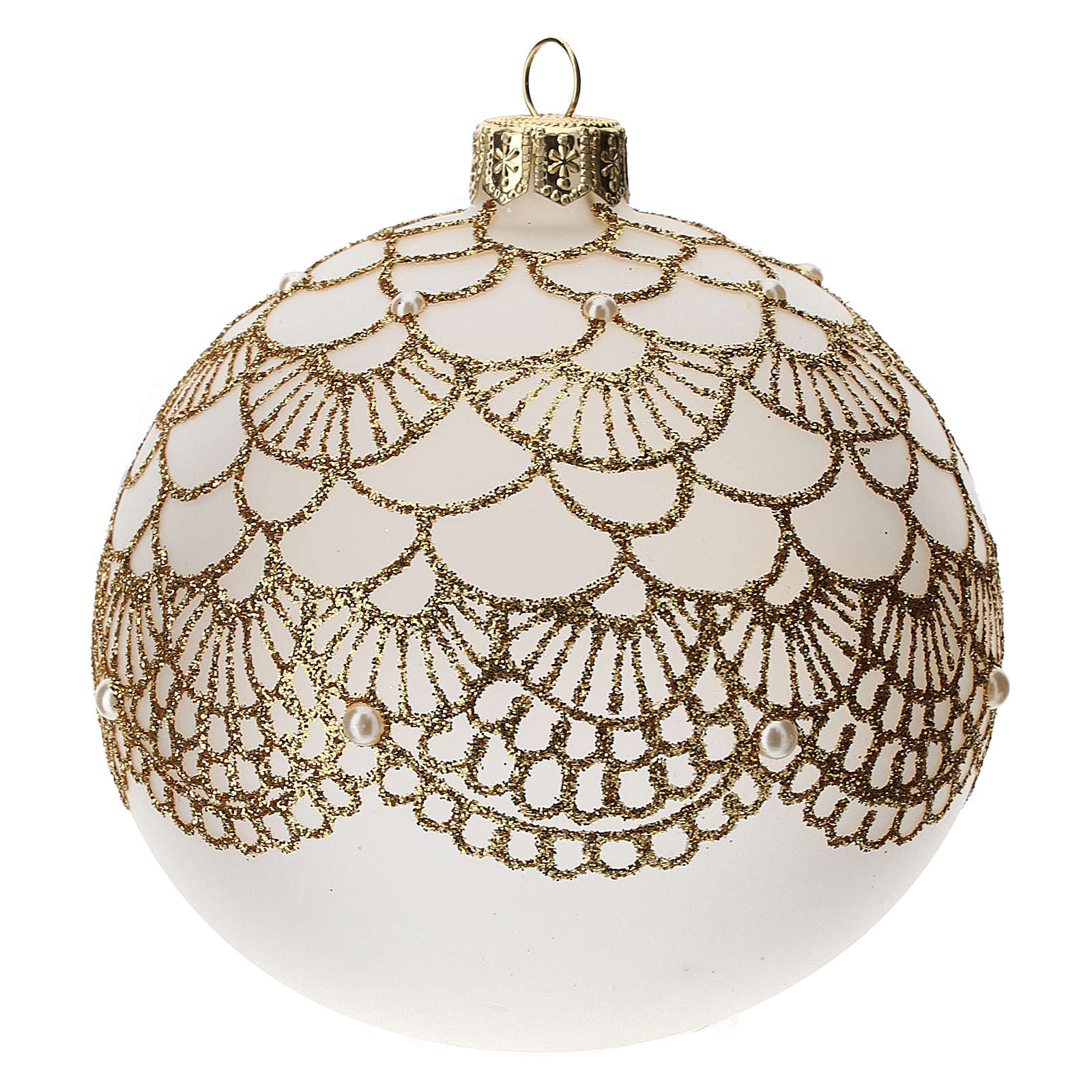Christmas tree ball in blown glass: elegant embroidery, 100 mm 4