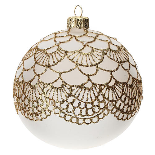 Christmas tree ball in blown glass: elegant embroidery, 100 mm 2