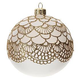 Bola árbol Navidad vidrio soplado opaca bordado dorado elegante 100 mm s2