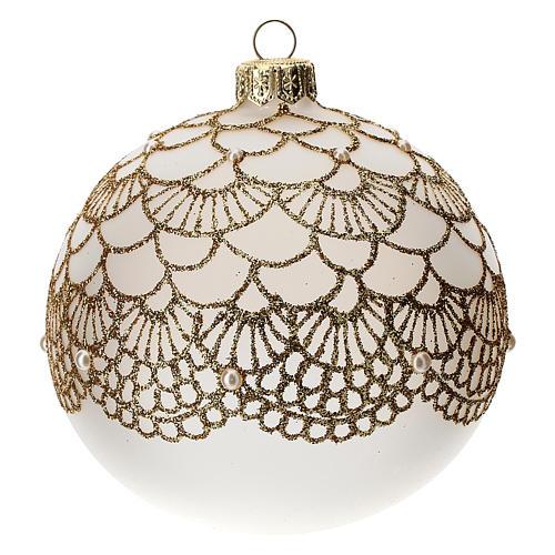 Bola árbol Navidad vidrio soplado opaca bordado dorado elegante 100 mm 1