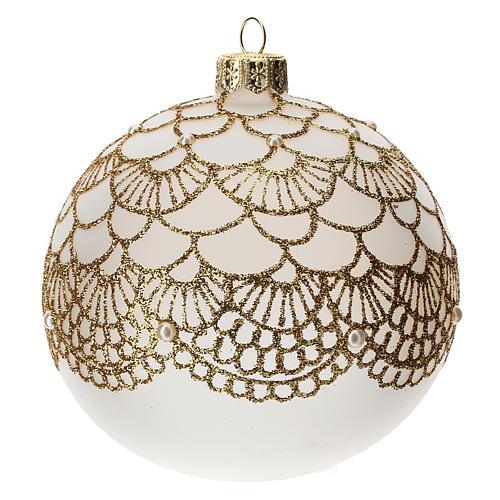 Bola árbol Navidad vidrio soplado opaca bordado dorado elegante 100 mm 2