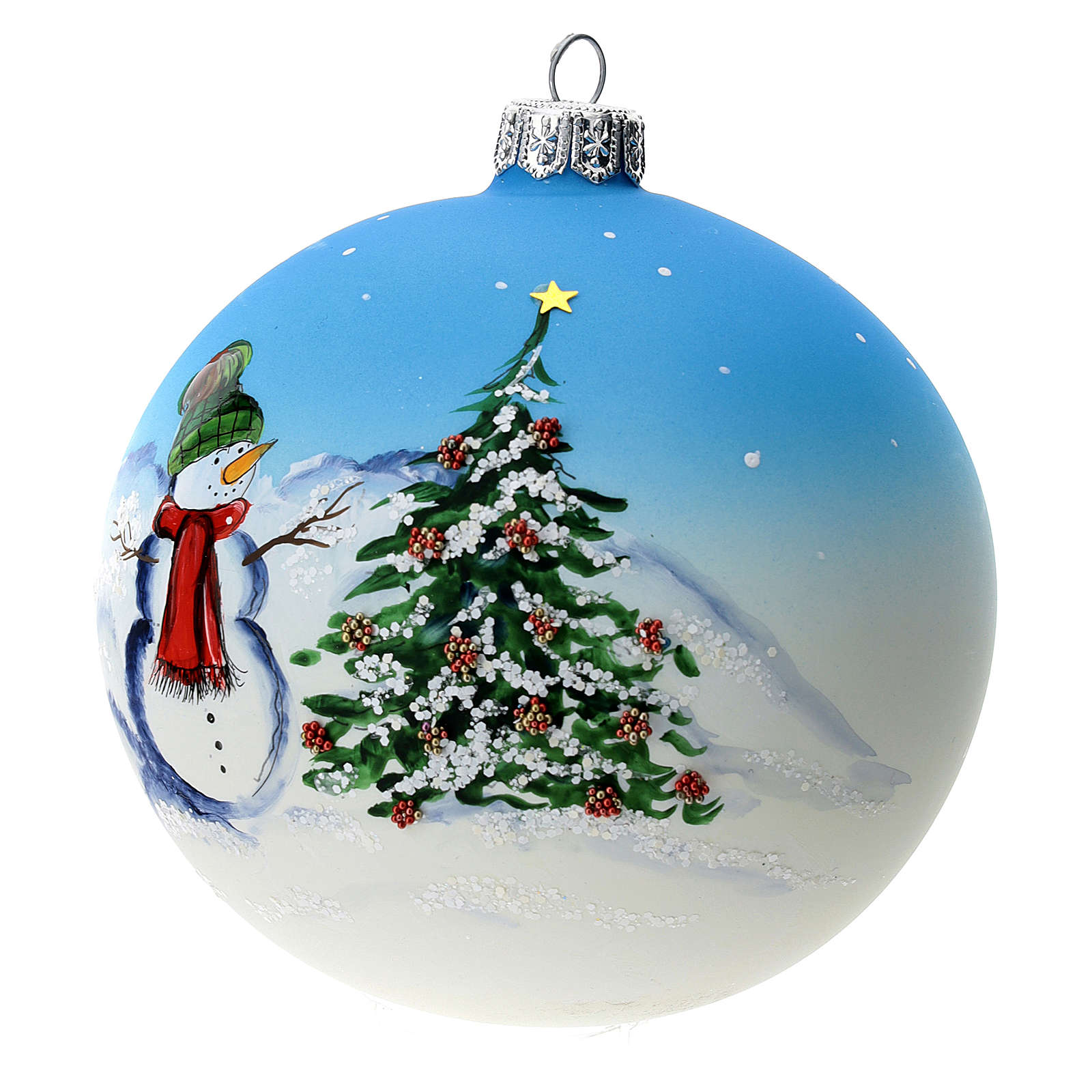 Christmas tree ball in blown glass: snowman, 100 mm 4