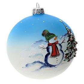 Palla albero Natale vetro soffiato azzurra decoro pupazzo di neve 100 mm s2