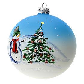 Palla albero Natale vetro soffiato azzurra decoro pupazzo di neve 100 mm s3