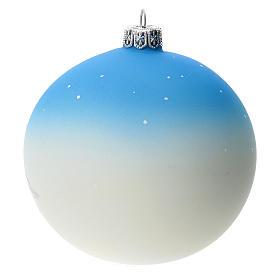 Palla albero Natale vetro soffiato azzurra decoro pupazzo di neve 100 mm s4