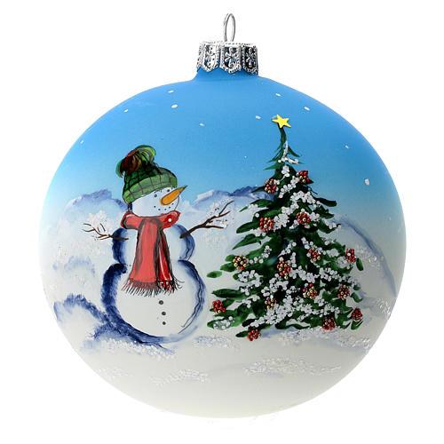 Palla albero Natale vetro soffiato azzurra decoro pupazzo di neve 100 mm 1
