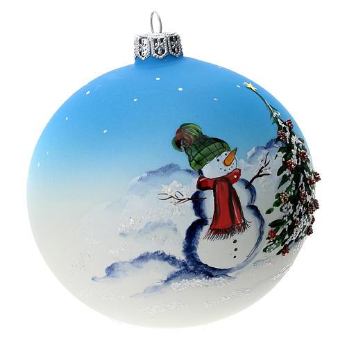 Palla albero Natale vetro soffiato azzurra decoro pupazzo di neve 100 mm 2