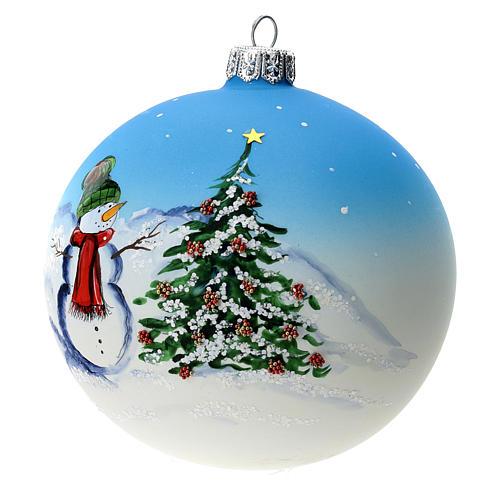 Palla albero Natale vetro soffiato azzurra decoro pupazzo di neve 100 mm 3